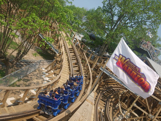 'Wooden Warrior' roller coaster at Quassy Amusement Park in Middlebury, CT.