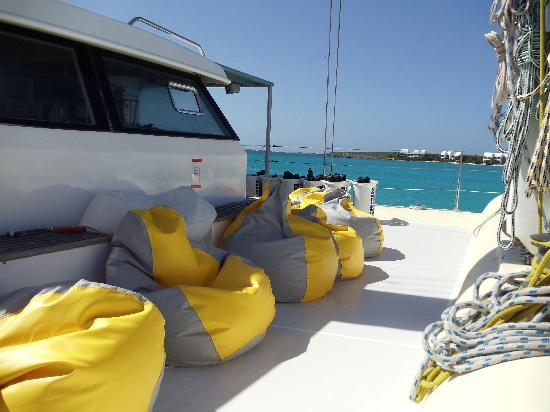 Fun bean bag seats on the boat Picture of Grand Case