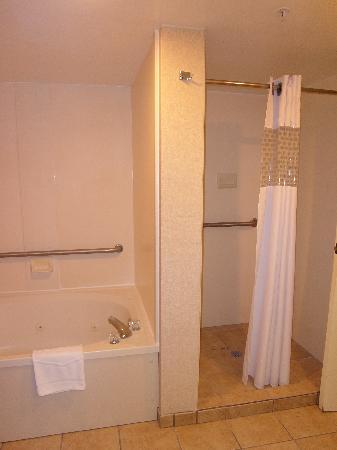 Hampton Inn Roanoke/Salem: Jetted tub and separate walk-in shower