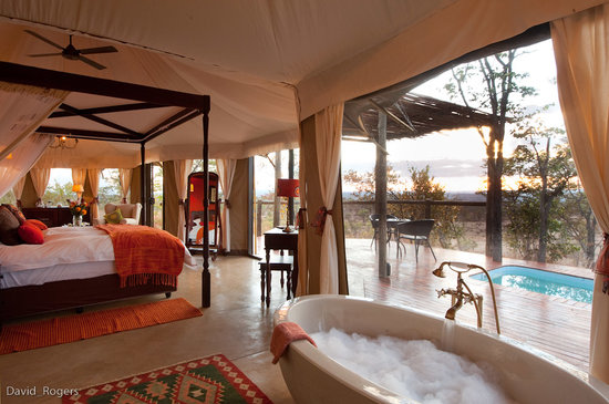The Elephant Camp: A bath with a view!