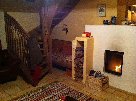 living room with cozy fireplace picture of bauernhof