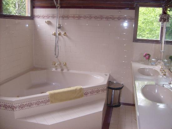St. Mount's Boutique Hotel: Large bathroom with corner spa