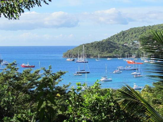 Belmont, Bequia: Zoomed in view to Admiralty Bay and Fort Hamilton from bay window