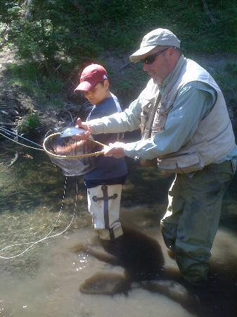 My son 39 s first trout picture of fagan 39 s guided fly for Red river new mexico fishing