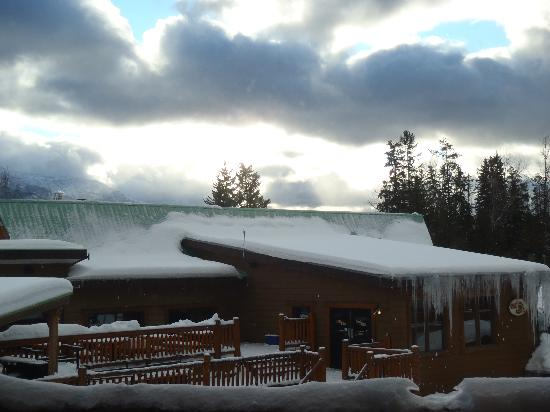 Cornerstone Lodge: View from our window/balcony.  Griz Bar.  You can see all of the snowball marks on the side of t