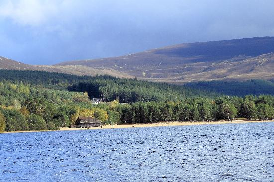 Aviemore and the Cairngorms, UK : Spectacular setting for Loch Morlich watersports centre - beach, forest and mountains