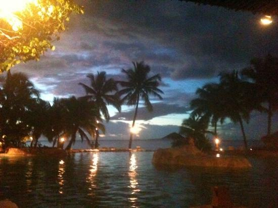 Sonaisali Island Resort Fiji: the pool at night.