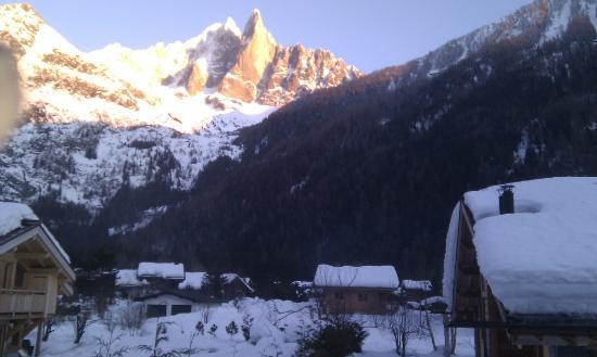 Cold Fusion Chalets: View to Chalet 1 with Valleee Blanche beyond