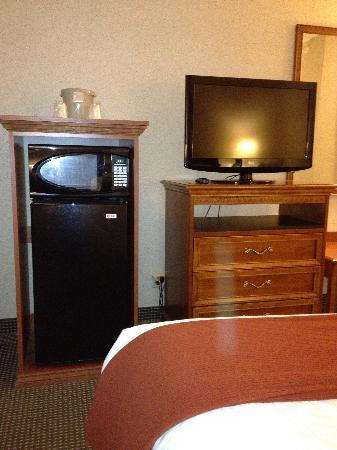 Holiday Inn Express Belleville: Fridge, microwave, nice flat screen tv.
