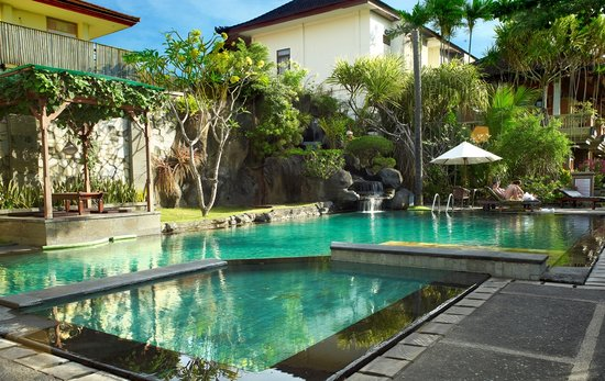 Adi Dharma Cottages: pool viewed from reception desk