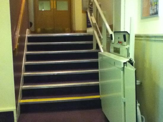 Premier Inn Carlisle - M6, Jct 44: stairs to reception from ground floor corridor
