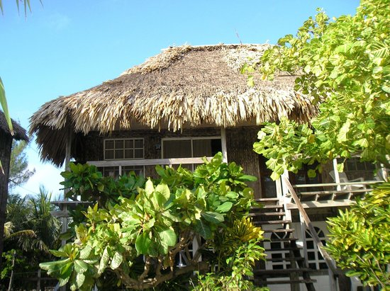 Exotic Caye Beach Resort: Balcony of our room from the beach