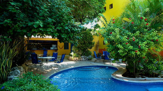 Hotel Medio Mundo: Pool and breakfast patio
