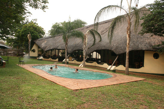 Adventure Lodge: From Pool towards the restaurant and Bar area