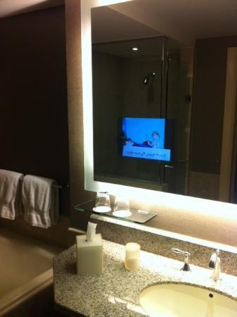 TV in bathroom mirror My first Cool Picture of Four