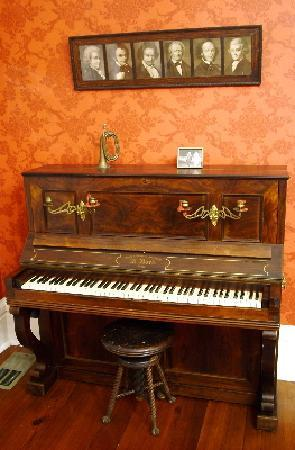 antique french empire piano paris 1856 seen in music room picture of natchez mississippi. Black Bedroom Furniture Sets. Home Design Ideas