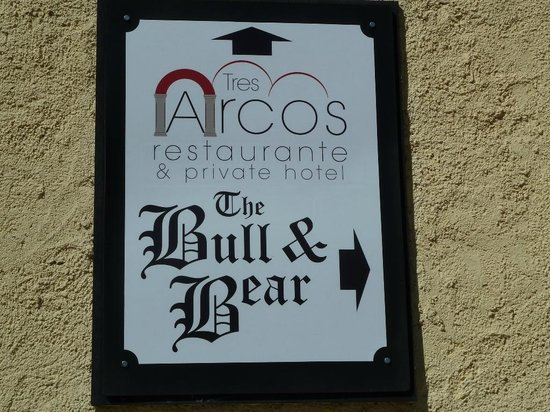 Benitachell, Spain: Tres Arcos sign from Javea road
