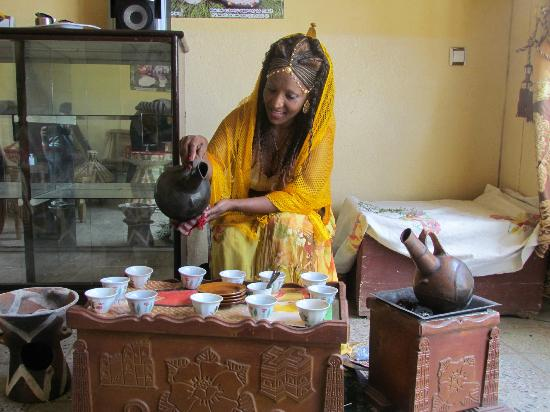 Aksum, Ethiopia: Coffee ceremony by the owner 2012