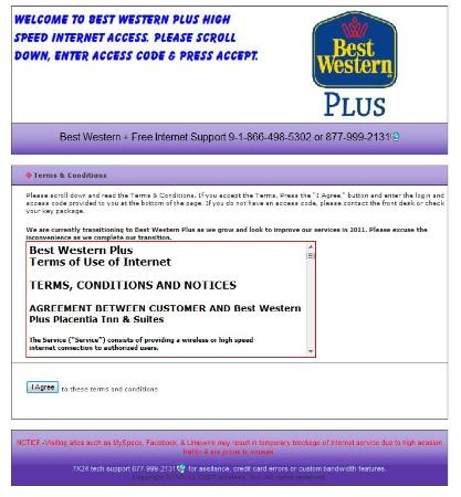 BEST WESTERN PLUS Anaheim Orange County Hotel: Small print says they will cut off your interenet if you visit Facebook