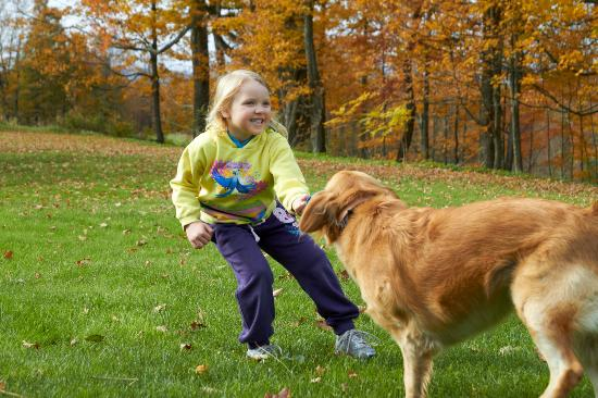 Hollister Hill Farm B&B: House dog with our daughter