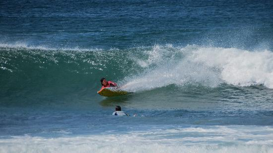 La Posada at Hacienda Pinilla: A boogie boarder cuts the wave...