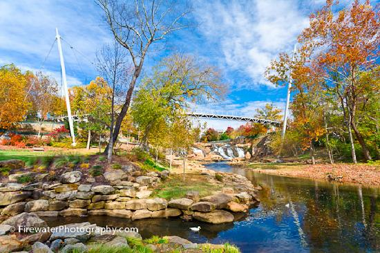 ,  : Greenville&#39;s Liberty Bridge at Falls Park on the Reedy