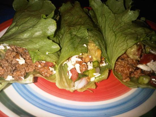 Aguas Claras Beach Cottages: Beef Lettuce Tacos We Made. All Organic.