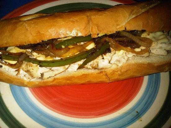 Aguas Claras Beach Cottages: Chicken Sandwich we made there also. Kitchen will save you money. Bread is from Puerto Viejo Bak
