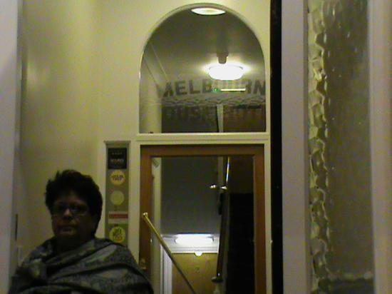 Melbourne House Hotel: my mum outside the entry