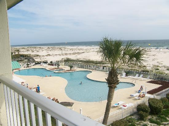 Plantation Palms at Gulf Shores Plantation: Our view from the balcony of our condo