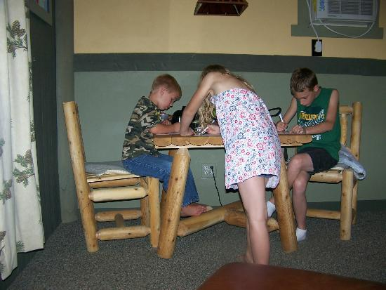 Patriot Inn: There are nice tables and chairs inside each of the cabins.