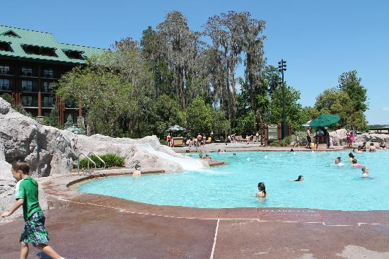 pool looking at main lodge area - Picture of Disney s Wilderness Lodge    Wilderness Lodge Pool Slide