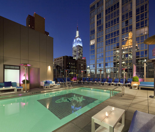 Gansevoort Park Avenue NYC: Our Rooftop Pool at Night