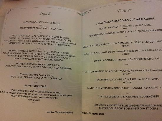 Hotel Terme Metropole: Il Menu