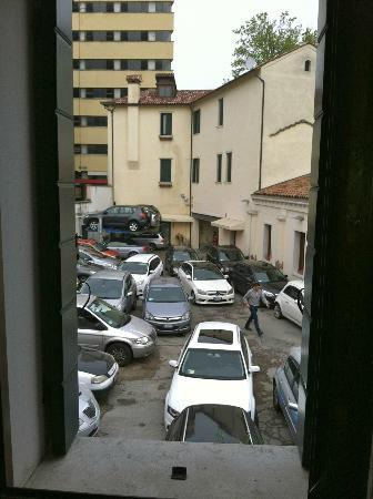 """Ca' Doge: The hotel's parking courtyard as seen from our room in """"the annex""""."""