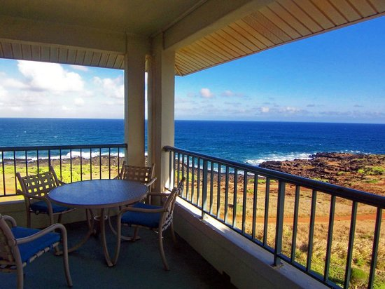 The Point at Poipu: Our deck.  Corner unit top level... huge deck
