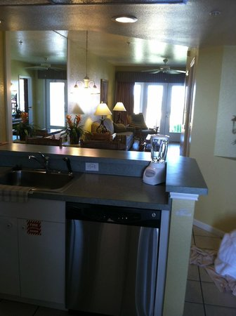 Vacation Villas at Fantasy World II: STanding in the kitchen pic into dining and living area to balcony