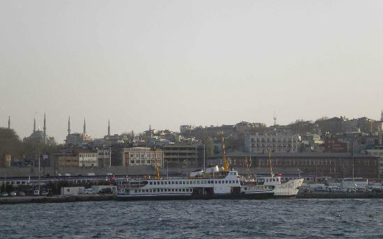 Hotel Akcinar: View of the hotel and the neighborhood from a ferry.