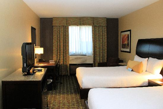 Hilton Garden Inn Springfield: Dark colors make for a dull room.