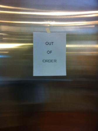 Cavalier Inn at the University of Virginia: sign on elevator. we carried our bags up and down the stairs.