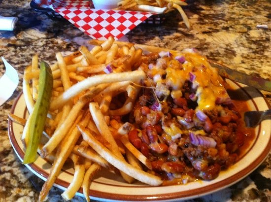 Glennville, CA: opened-face chili dog. So good!