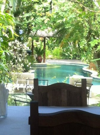 Sunny Blow Villa Jepun: Breakfast Setting overlooking pool