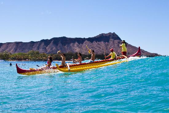 Honolulu, HI: Outrigger Canoe Surfing