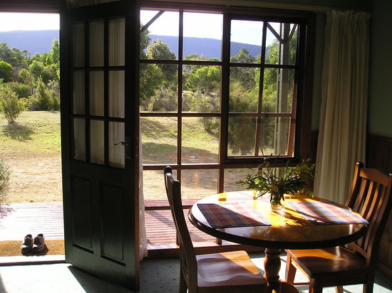 Mountain View Motor Inn & Holiday Lodge: View from lounge room of 1 bedroom deluxe lodge