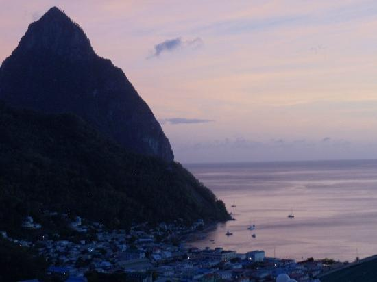 Villa des Pitons: View of Soufriere and the smaller Piton from the balcony
