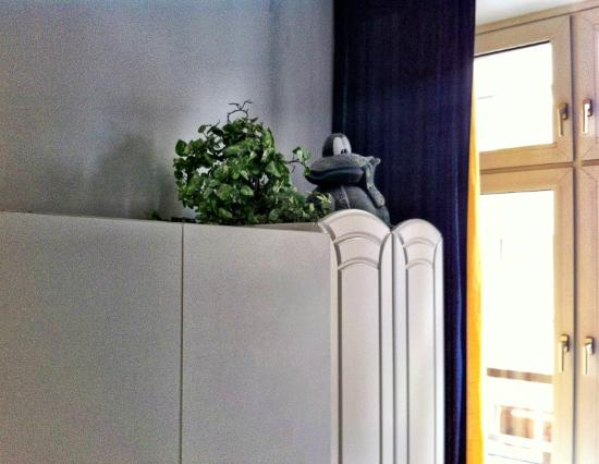 Hotel Heinzelmannchen: Garden frog on the cupboard. Why?!