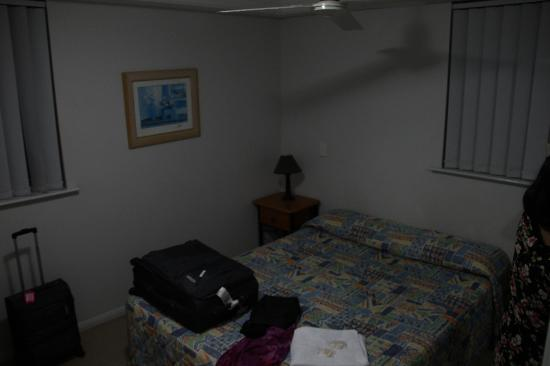 : bedroom with 21 inch LCD TV
