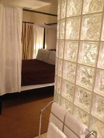 The White Orchid Inn and Spa: Room With It All Looking from Shower to Bed Area