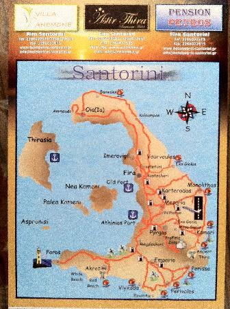 Pension Petros: Santorini&#39;s Map