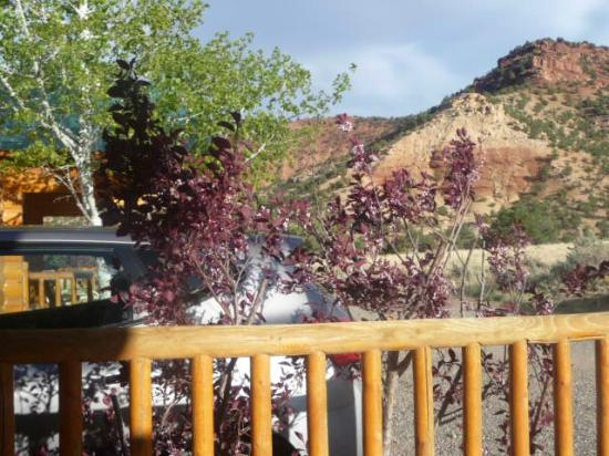 View from porch for Torrey utah lodging cabins